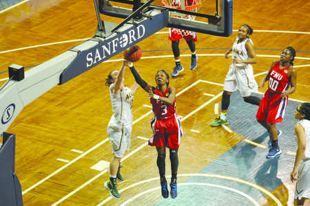 Briana Burgins (3) helped the lady Patriots in their battle for the Division II Women's Basketball National Championship. The Pats were eliminated by the University of Alaska at Anchorage.