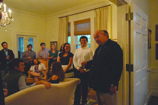 FMU President Dr. Fred Carter welcomes honors students and faculty into his home on Sept. 24 for the annual honors reception. Carter spoke to the students about upcoming opportunities for traveling abroad.