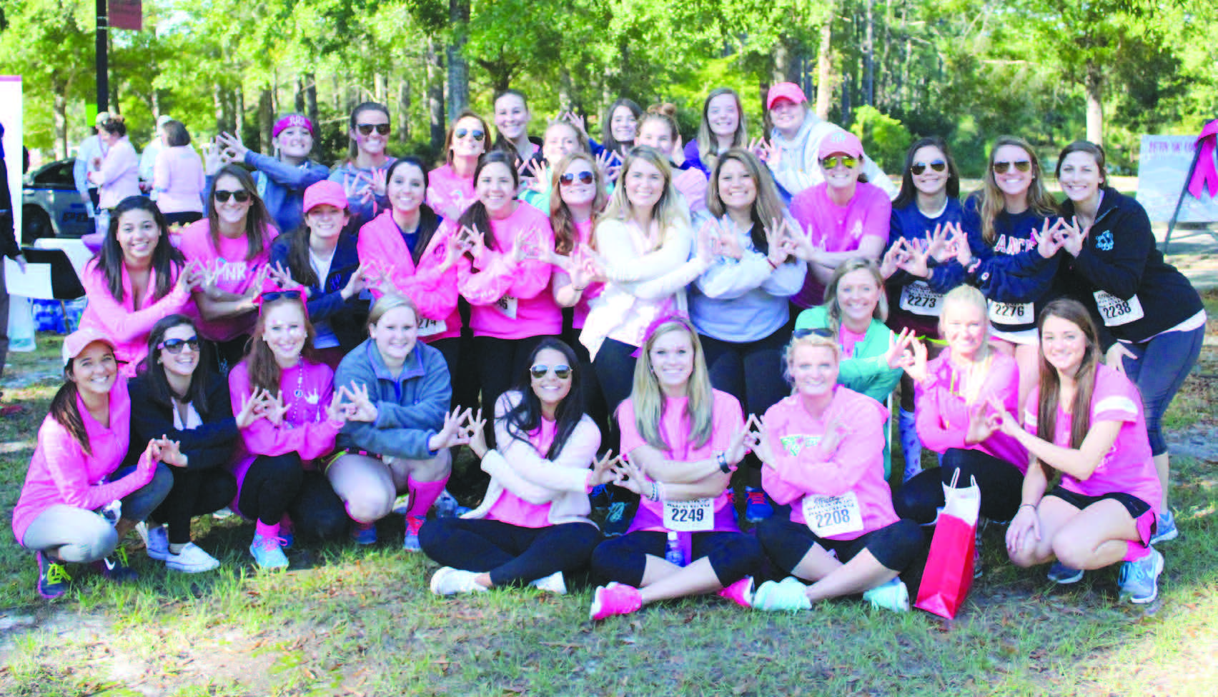 Members of Zeta Tau Alpha sponsor a 5K to raise money for breast cancer education and awareness. FMU and members of the community join them for the run.