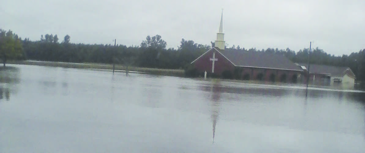 Hurricane Juaquin causes flooding across the state of South Carolina. Unity Free Will Baptist Church in Bishopville is one of the many buildings affected by the flooding.