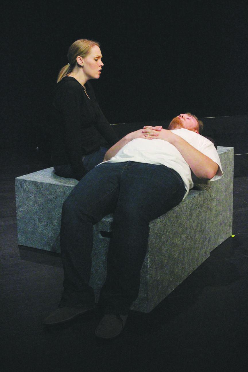 Kristen Hardaway, playing Deb Pendergrass, sings a solo to Matthew Atkins, playing Sam, Deb's father.