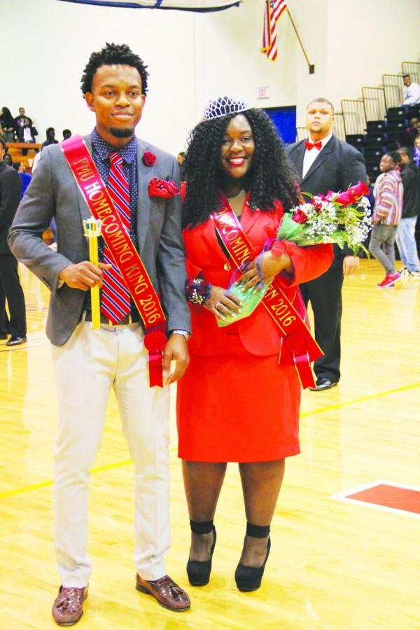 Eric+Charley+and+Shayla+Franklin+were+crowned+FMU%E2%80%99s+2016+Homecoming+King+and+Queen+during+the+basketball+games+on+Feb.+6.%0ACharley+said+he+was+happy+to+have+the+opportunity+to+be+a+role+model+for+other+students+during+his+campaign.
