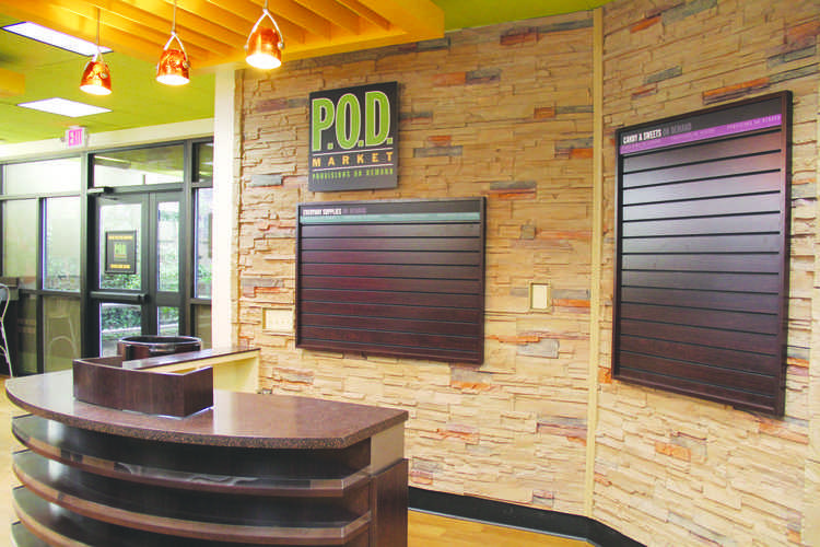 The new POD convenience store at the Ervin Dining Hall is being stocked with plans to open soon.
