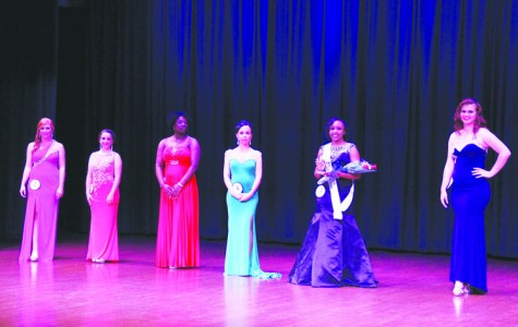 The contestants line up as the runners up and Ms. FMU are announced Tiara Lonon, second from the right, was Ms. Congeniality.