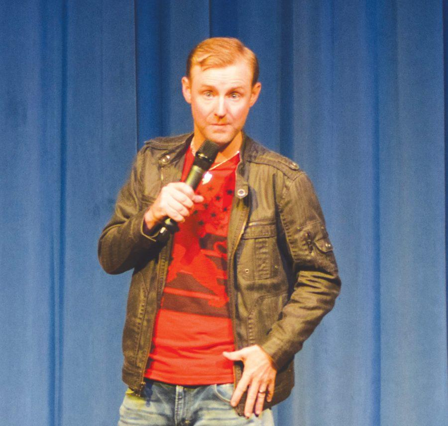 Lucas Bohn entertains FMU students during the comedy house event that the University Planning Board and Student Government Asociation sponsored.