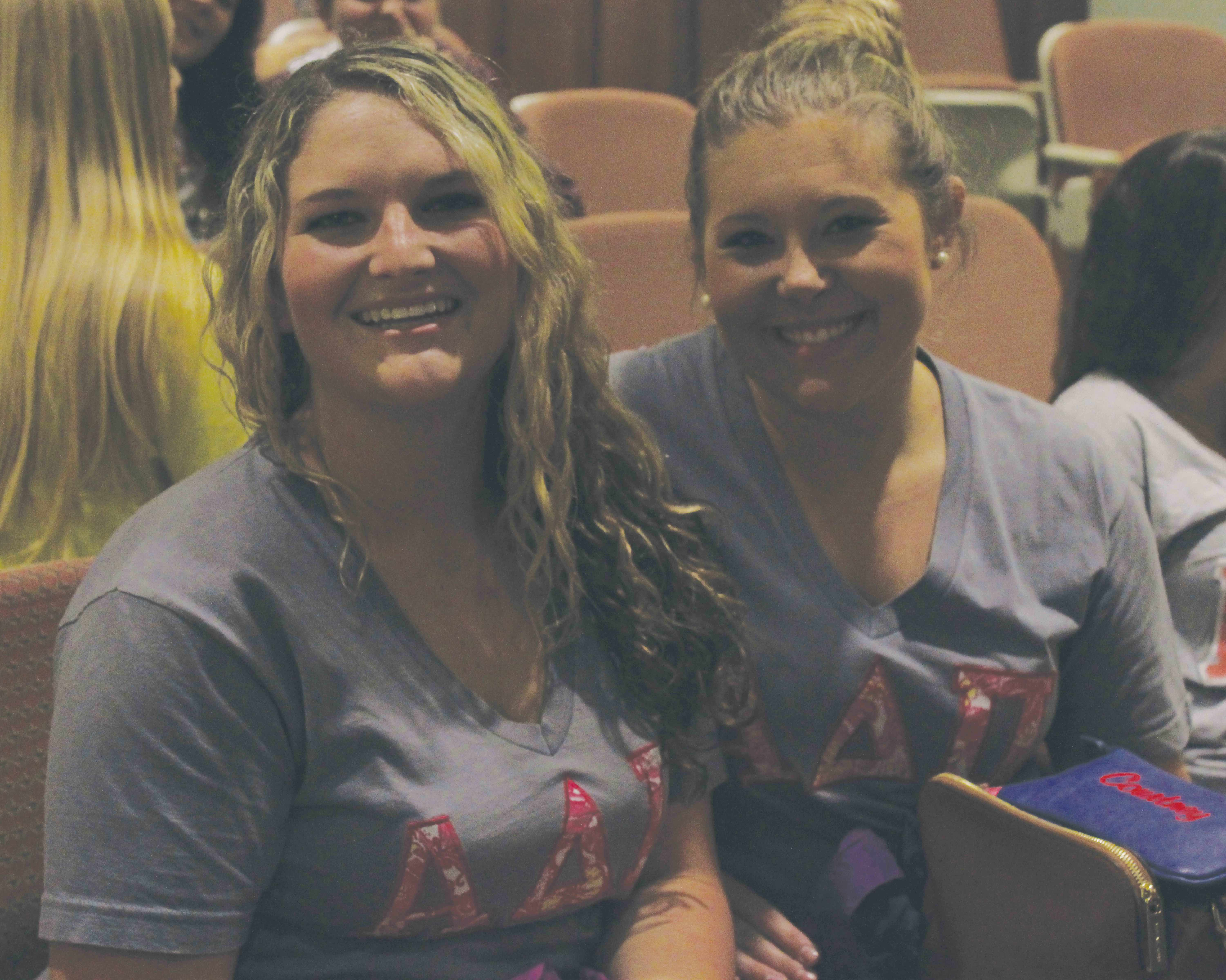 ADPi members Courtney Canipe and Marley Young attend the Diamond Development program to learn about life skills.