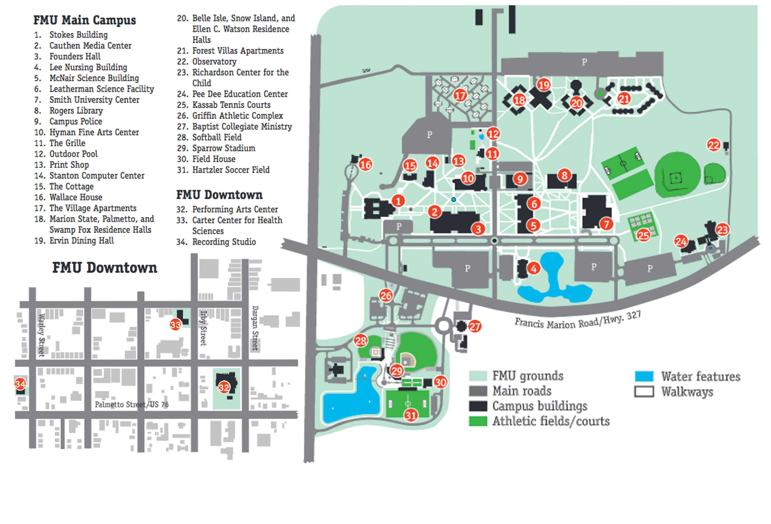The above graphic shows the reportable geography for FMU's campus, including the downtown facilities. Any crimes that appear in the Clery Act took place on FMU's reportable geography.