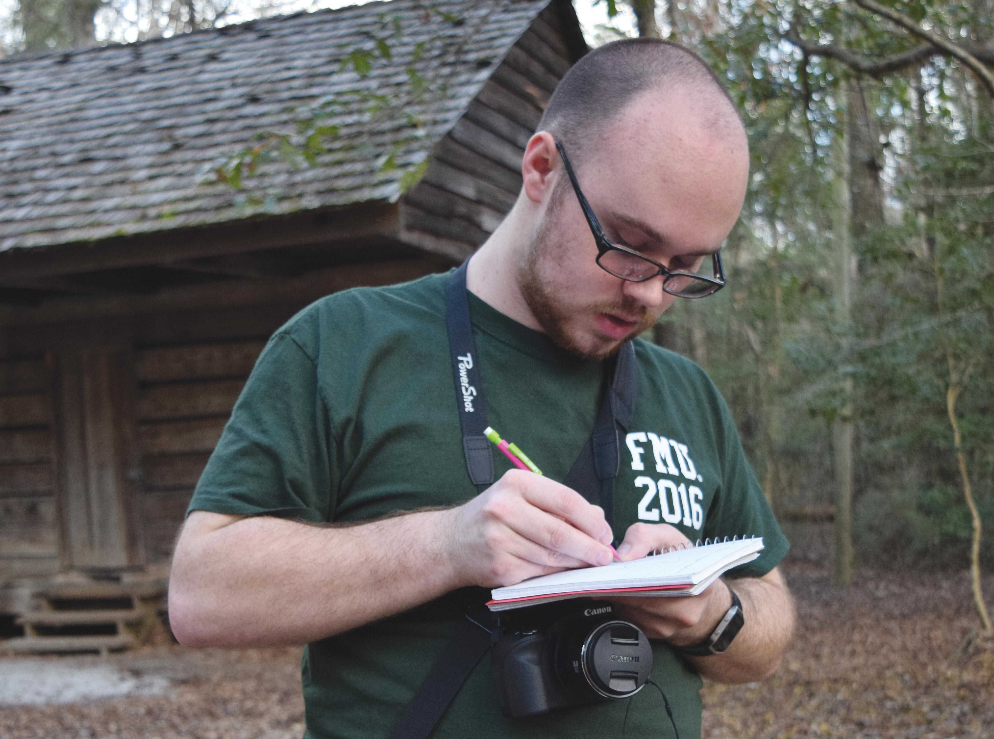 Senior Kyle Stewart is compiling a catalogue of plant species located on the FMU nature trail for his honors thesis so that nature trail visitors can more easily identify the variety of plants.