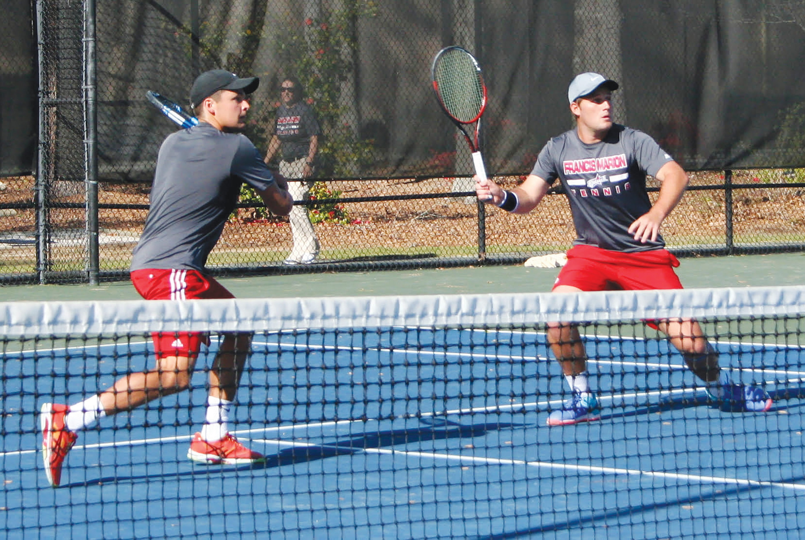 Doubles partners Richard Ashforth and Jannik Roettlingsberger won their doubles match 8-1 against Augusta University.