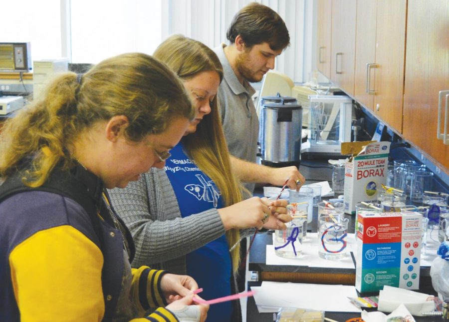 The Chemistry Department hosts activities as part of the National Chemistry Week. Students participate in crystal ornament-making.