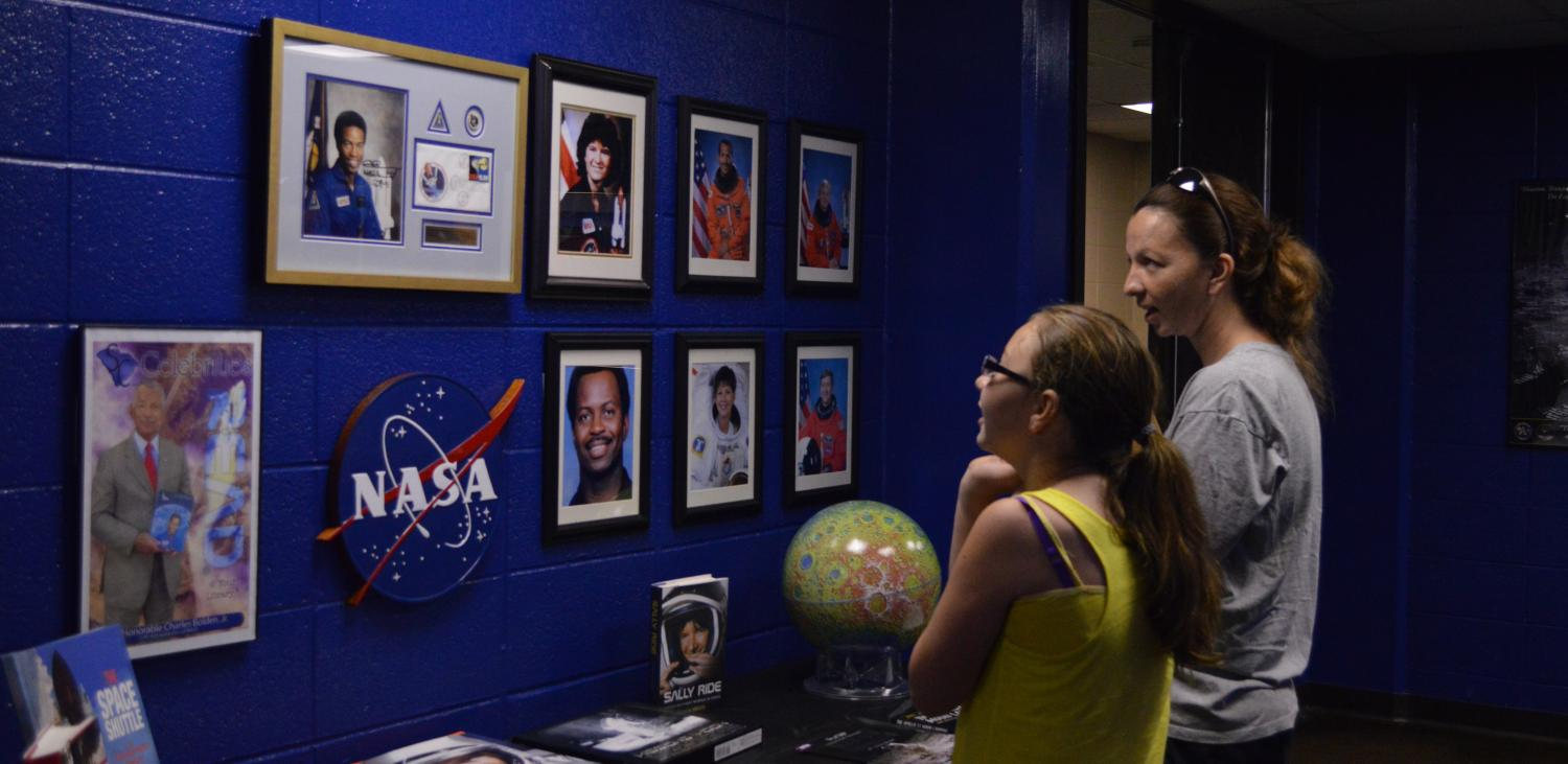 The Physics and Astronomy Department educates students about stars during a presentation at the Dooley Planetarium.