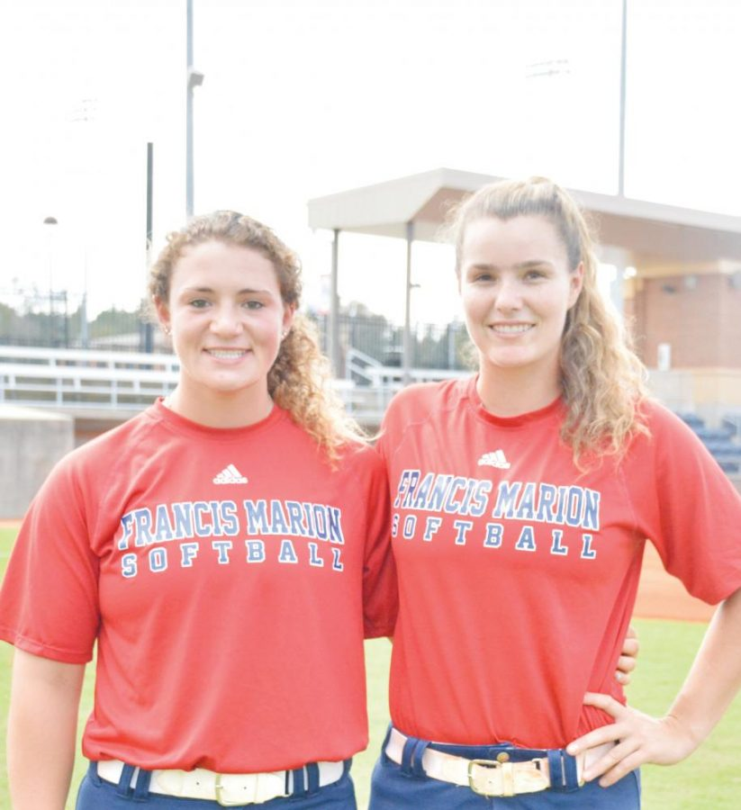 Softball+players+Taylor+Johnson+and+Samantha+Wroblewski+represent+FMU+at+annual+PBC+Women+in+Athletics+Conference.+