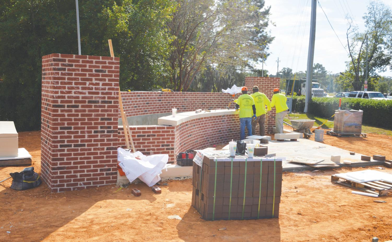 FMU is building a new sign to make the university more noticeable to passersby and welcoming to the FMU community. The new sign will feature water fountains.