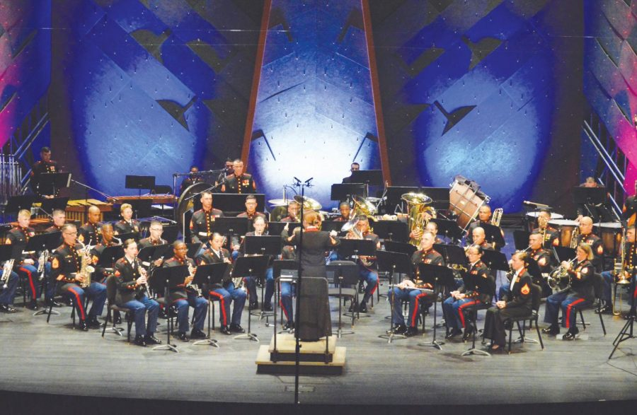 The Paris Island Marine Band performs at the FMU Performing Arts Center. The band honors military veterans through their music.