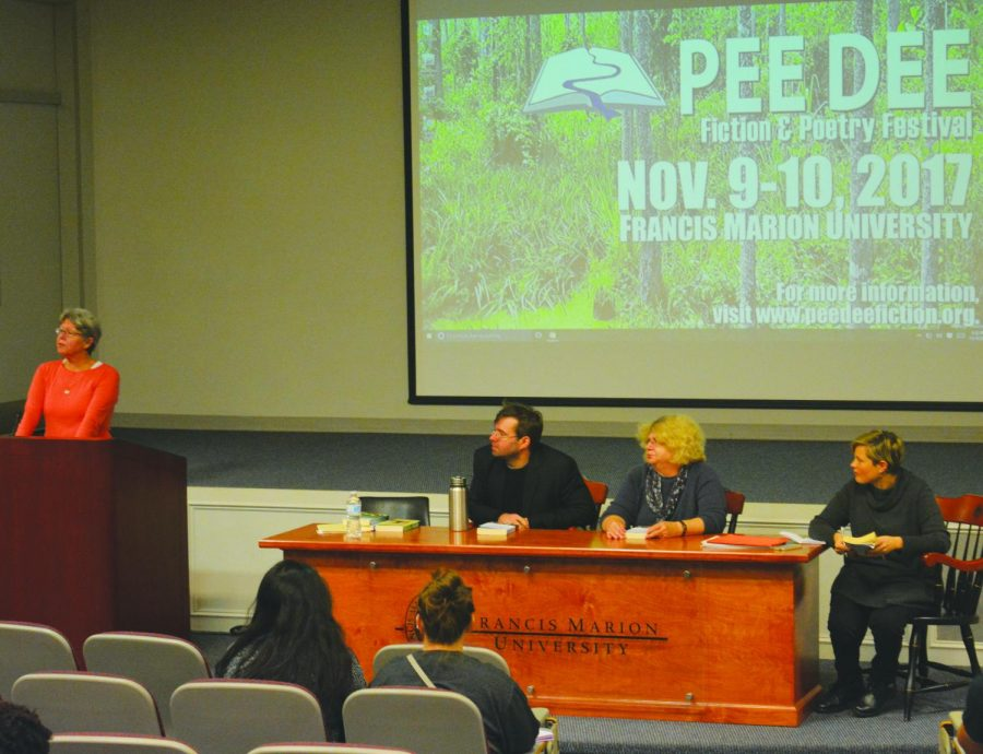English professors participate in a panel during the 12th annual Pee Dee Fiction and Poetry Festival.