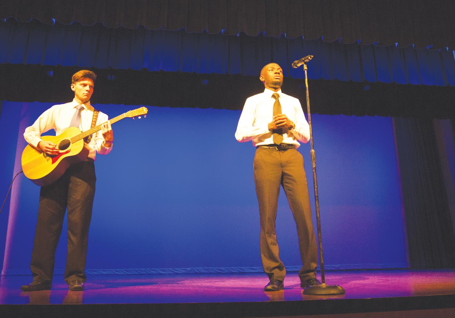 Rischard Brown and Christian Holloman perform a spoken word presentation for the 20th Annual Celebration of Dr. Martin L. King Jr.