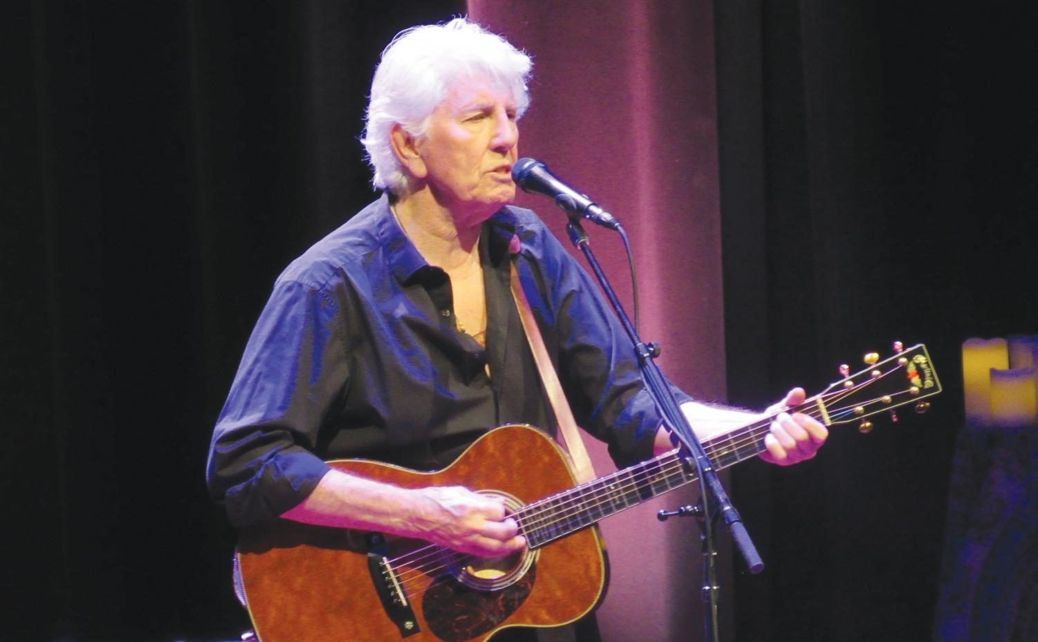 Graham Nash performs new and old songs for community members at the FMU Performing Arts Center. Nash also told the audience about his inspiration behind his songs.