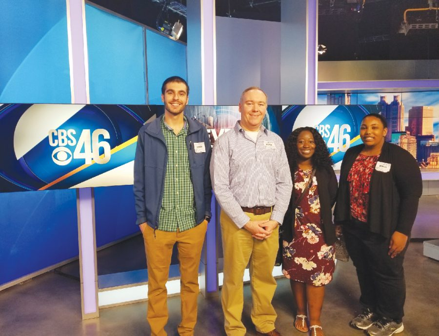 Mass+Communication+students+Brandon+Ryback%2C+JaConna+Brooker+and+Michelle+Carter+visit+CBS46+during+spring+break.