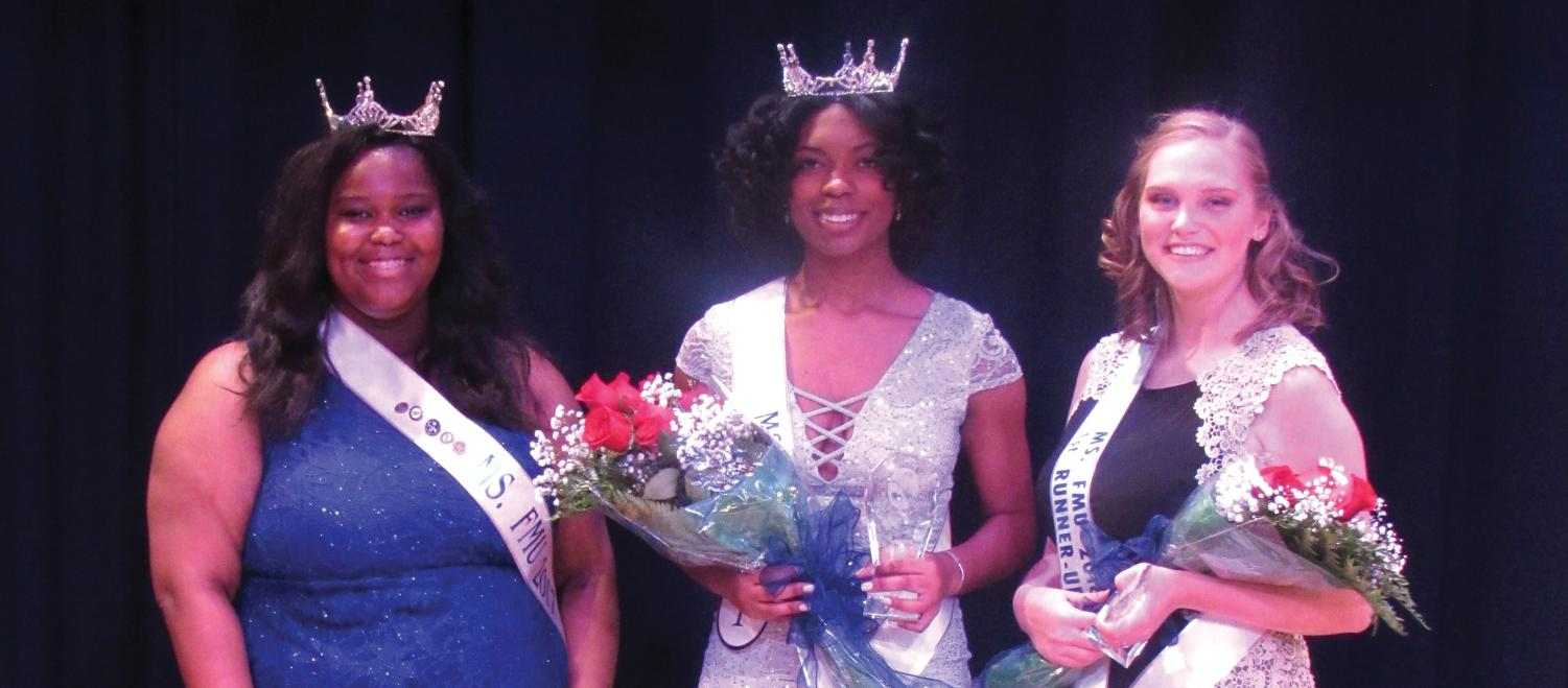 Ms. FMU 2018 Kennedy Glasgow shares the stage with first runner-up Chloe McCaskill and former Ms. FMU Marcedes Smith.