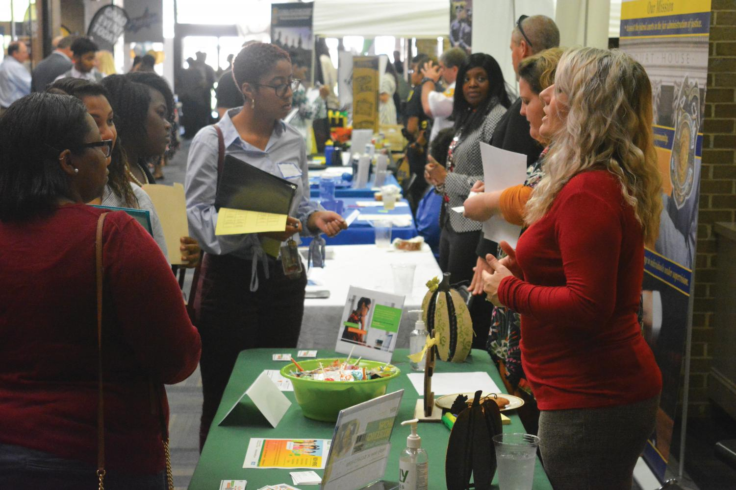Students gather at the Smith University Center to connect with possible future employers.