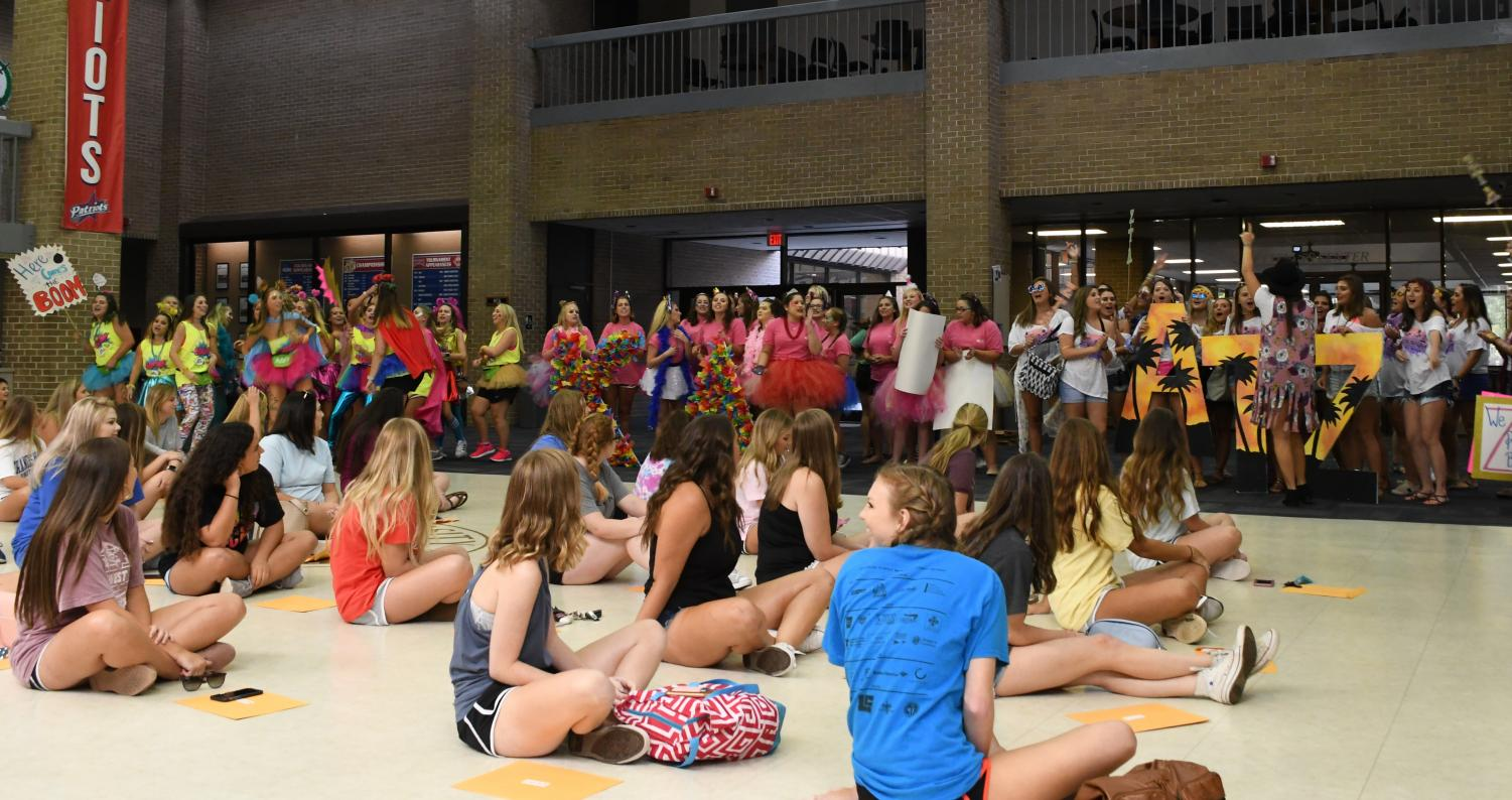 Potential New Members (PNMs) waiting in the Smith University Center (UC) on Sept. 9 with members of NPC sororities to run out to the sorority from which they received a bid.