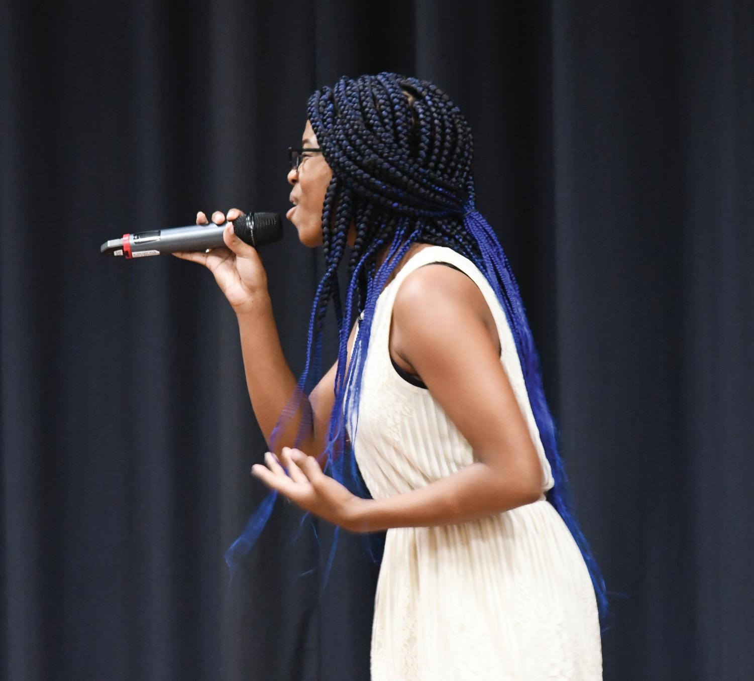 Tasia Phillips auditions for FMU's Got Talent. She received the golden buzzer for her performance of