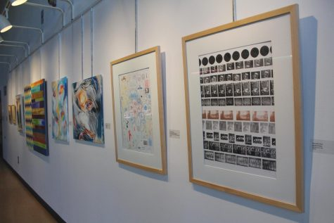 From right to left, Howard Frye illustrates his collection of stamps from his travels. He is followed by two abstract pieces by EunJung Chang.