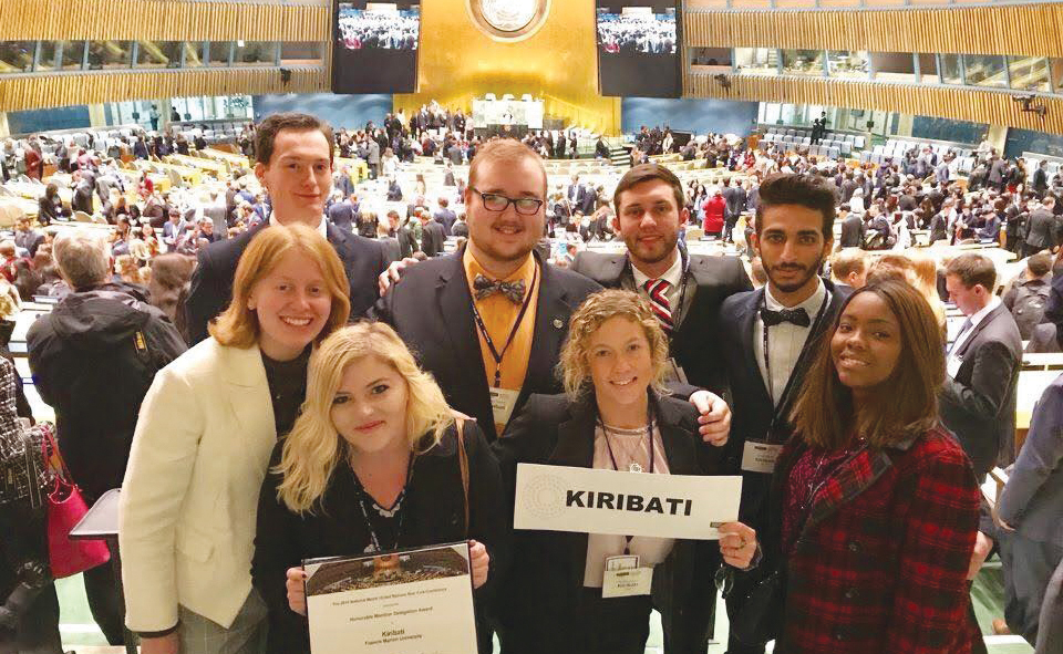 Last year's students participating in NMUN activities representing the country of Kiribati at the 2017 NMUN Convention in New York City.
