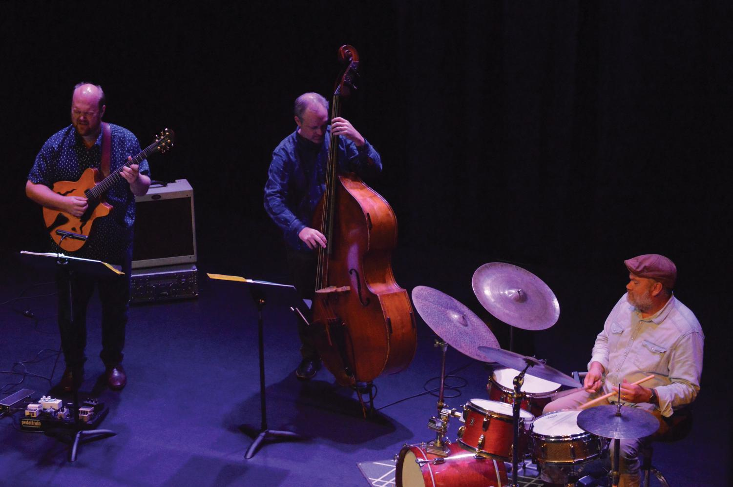 Members of the Brian Jones Trio playing for a crowd of music lovers at the Performing Arts Center on Sept. 26. Jones has recorded music with Jason Mraz, Boyd Tinsley and others.