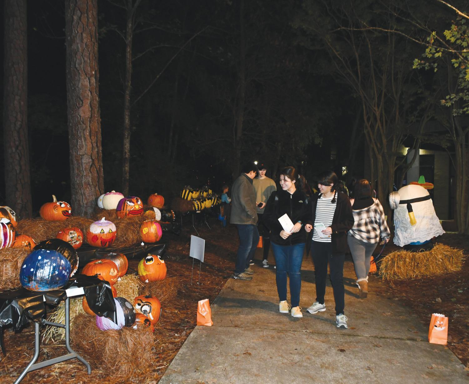 Attendees walk the trail to see pumpkins from student organizations, departments and Florence County school's.