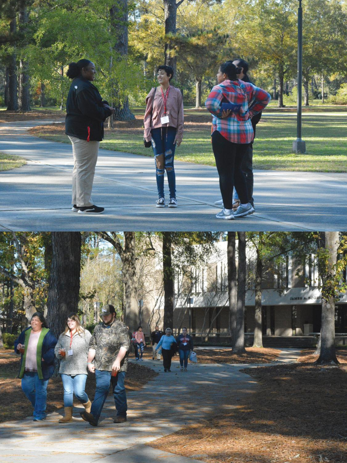 TOP: Student diplomat Tiffany Murphy speaks to prospective students outside Smith University Center during open house.  BOTTOM: Prospective students and family finish a tour of FMU's campus.