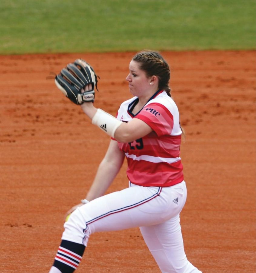 Kate Ellard winds up to pitch.