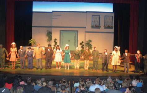The cast of Much Ado About Nothing takes a bow at the end of the play.