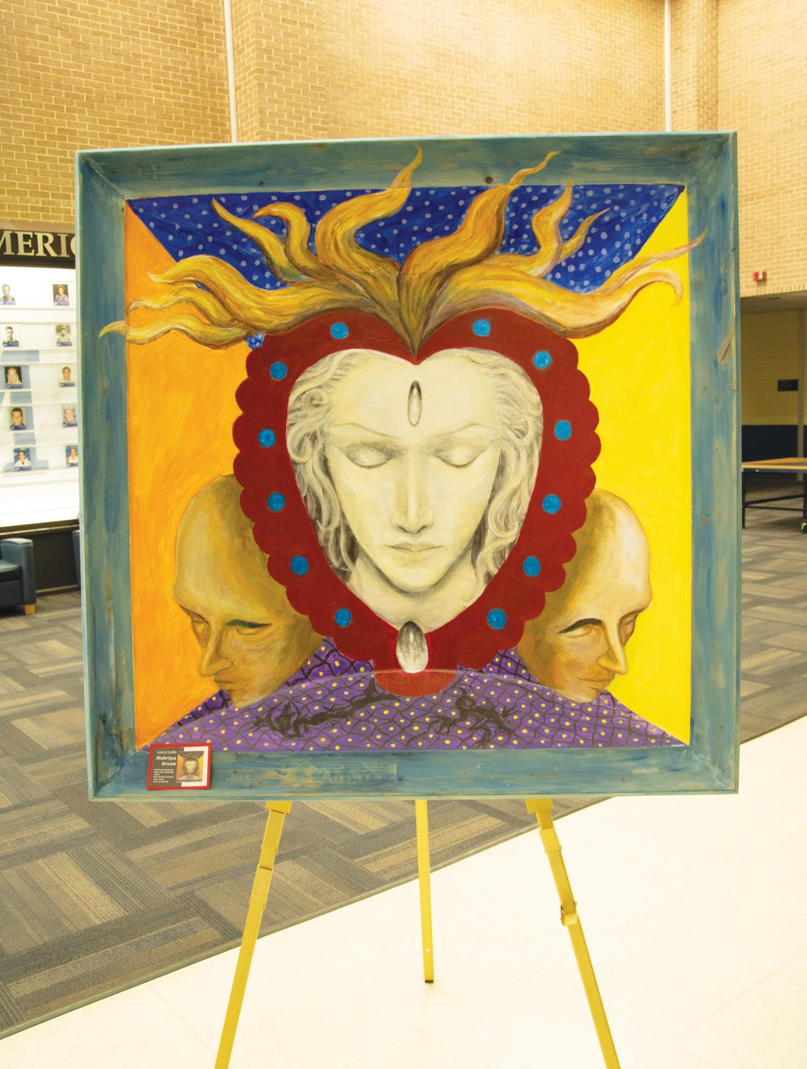 Laura Lesllo's art on display in the UC commons.