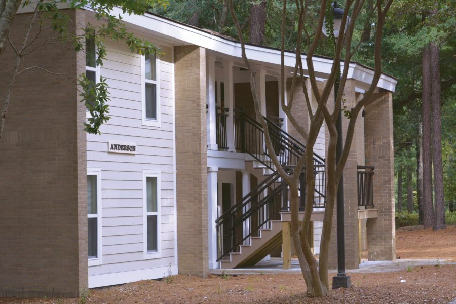 A side view of the renovated Village apartments.