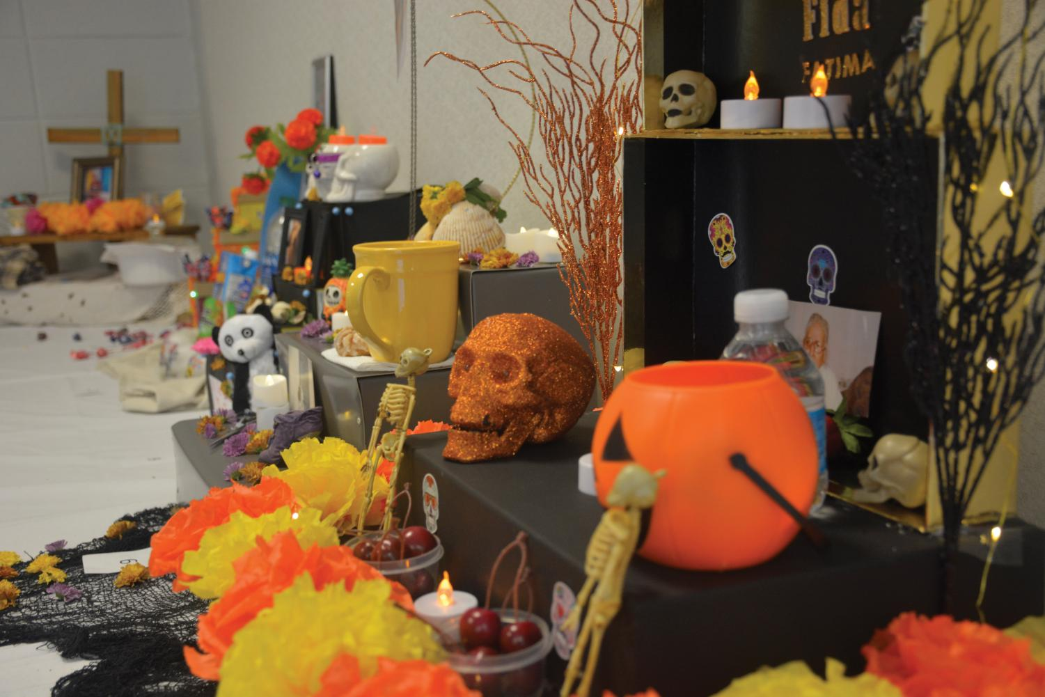Student altars on display for the Day of the Dead altar contest.