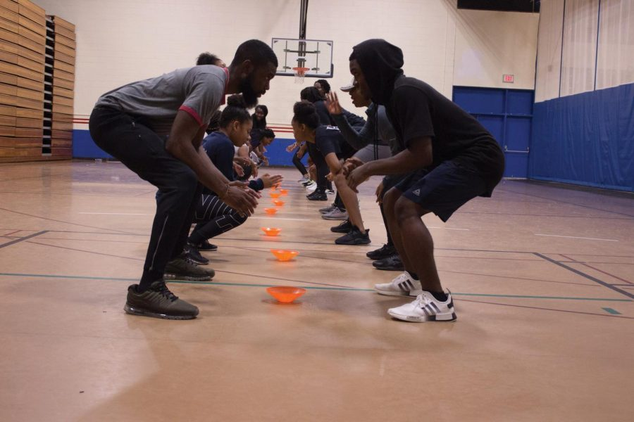 Students learn how to kickbox and to use different techniques.