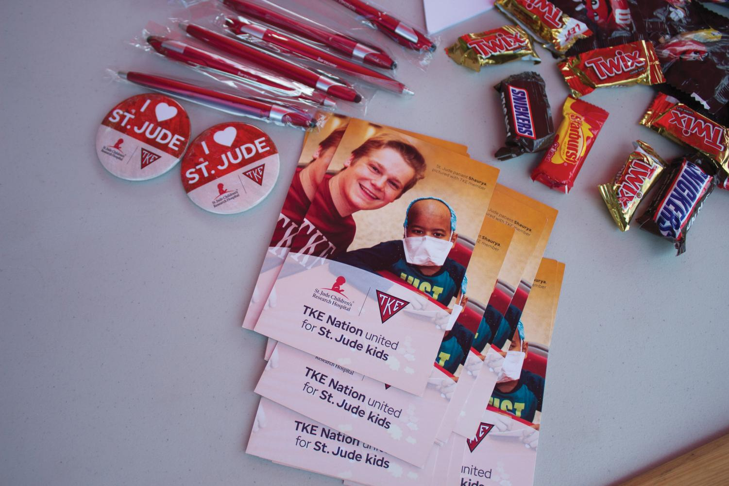 Information and candy given out at the blood drive.