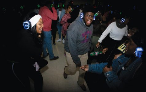 Students dance the night away during silent disco.
