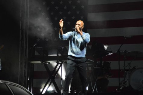 Common performs after Jaime Harrison leaves the stage at the Charlie W. Johnson Stadium at Benedict College.
