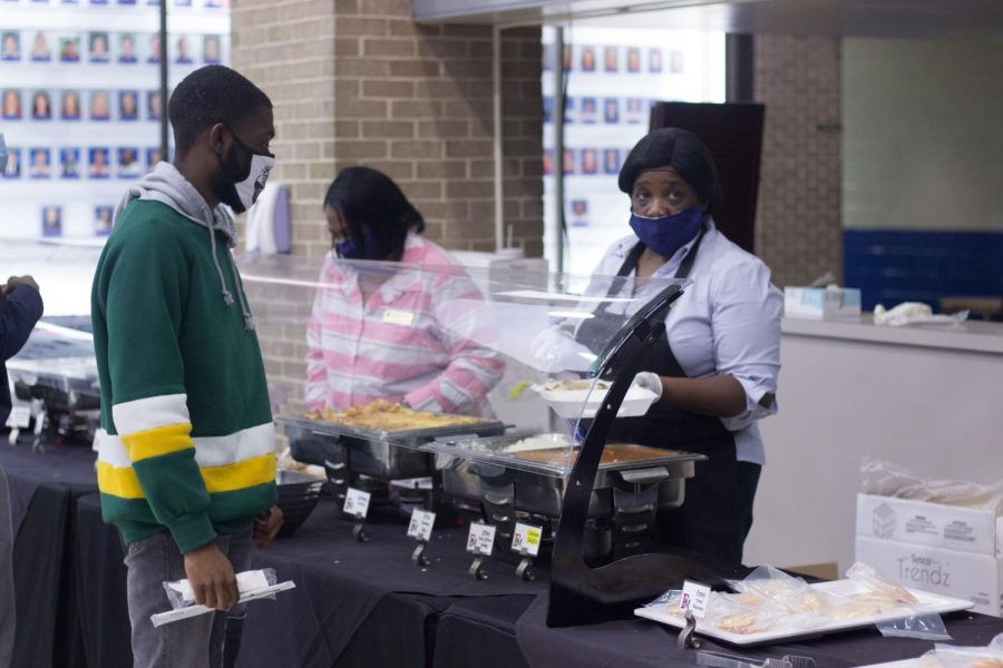 Students and faculty tried out different foods from around the world prepared by Aramark in the Smith University Center.