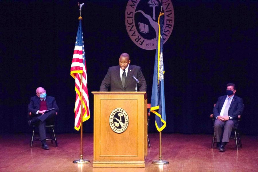 During the FMU State of the Student Body Address, SGA President Tymoshio Robinson discusses minimum wage increase for student workers.