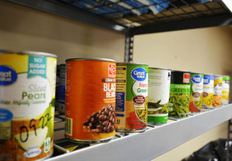 Different types of canned goods reside in the food pantry for students to use, free of charge.